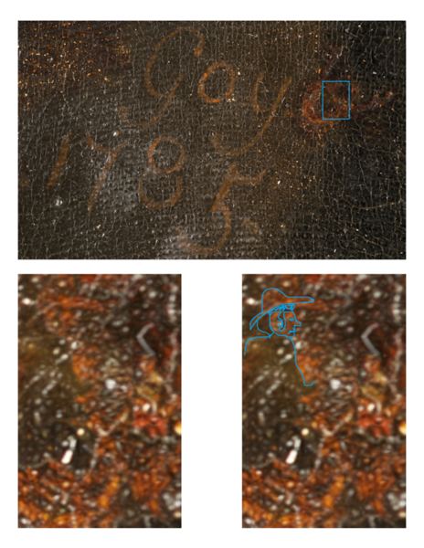 "(Fig. 1)  This image is a closeup photograph of the signature and date. The blue box in the ""a"" of the signature highlights what we believe is a miniature portrait of Goya. The other images are enlarged images of the area delineated by the box. Goya's self portrait in the signature is similar to the way he portrays himself in the portrait of the Count of Floridablanca, 1783."