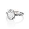 1.88ctw Oval Rose Cut Diamond Halo Ring, by Single Stone 1