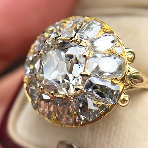 4.83ctw Peruzzi and Cushion Cut Diamond Cluster Ring