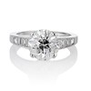 2.53ctw Old European Cut Diamond French Cut Side Stones Ring, by Single Stone 0