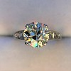2.53ctw Old European Cut Diamond French Cut Side Stones Ring, by Single Stone 32