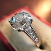 2.53ctw Old European Cut Diamond French Cut Side Stones Ring, by Single Stone 12