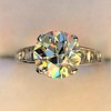 2.53ctw Old European Cut Diamond French Cut Side Stones Ring, by Single Stone 4