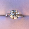 2.53ctw Old European Cut Diamond French Cut Side Stones Ring, by Single Stone 14