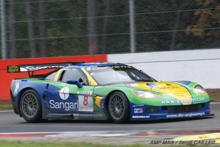 # 8 - 2009 FIA GT1 - Sangari/Team Brazil - ex-DKR C6R-002. The DKR team started the year as # 9 with Jos Menten and Marcus Pelttala driving. a new team was created with Sangari and the car was re-numbered as # 8, with drivers Ricardo Bernoldi and _ Streit. At the end of the year, the deal collapsed and DKR resumed ownership of the car.