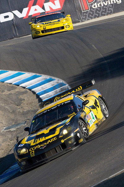 Corvette Racing, American Le Mans Series, Laguna Seca, Monterey, CA, October 20, 2007, C6.R #4, driven by Oliver Gavin and Olivier Beretta to first in GT1, leads  C6.R #3, driven by Johnny O'Connell and Jan Magnussen to second in GT1, through the Corkscrew at Laguna Seca (Photo by Richard Prince for GM Racing)