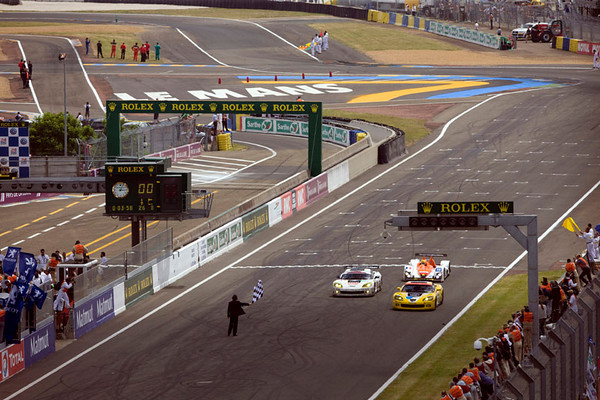 Corvette Racing, 24 Hours of Le Mans, June 13-14, 2009, C6.R #63, driven by Johnny O'Connell, Jan Magnussen, and Antonio Garcia, finished first in GT1, #73 Team Luc Alphand Adventures C6.R finished second in GT1 (photo credit Richard Prince/GM Racing).