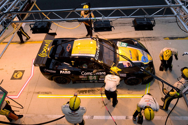 Corvette Racing, 24 Hours of Le Mans, June 13-14, 2009, C6.R #64, driven by Oliver Gavin, Olivier Beretta, and Marcel Fassler, in for a pit stop during Wednesday's practice (photo credit Richard Prince/GM Racing).