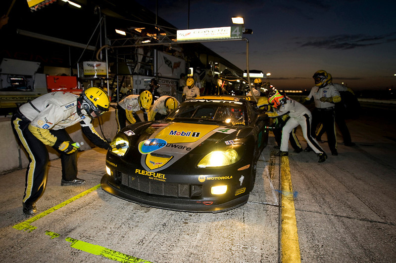 Corvette Racing, American Le Mans Series, Mobil 1 12 Hours of Sebring, Sebring International Raceway, Sebring, Florida USA, March 21, 2009, C6.R #3 driven to first in GT1 by Johnny O'Connell, Jan Magnussen, and Antonio Garcia, C6.R #4 driven to second in GT1 by Oliver Gavin, Olivier Beretta, and Marcel Fassler. (Richard Prince/GM Racing Photo). Media Use Only.
