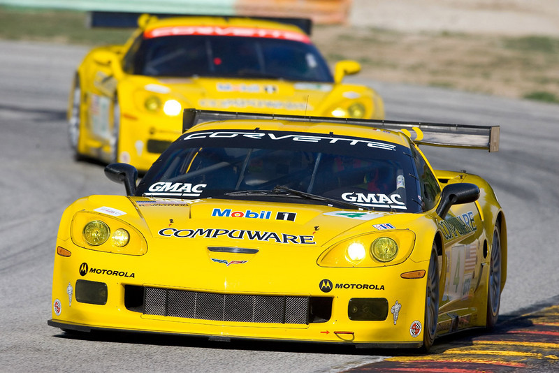 Corvette Racing, Road America, 8/21/05, GT1 class winning C6.R #4 driven by Oliver Gavin and Olivier Beretta leads the second placed GT1 class  #3 C6.R, driven by Ron Fellows and Johnny O'Connell. Photo credit Richard Prince/GM Racing, ©2005 Richard Prince, richard@rprincephoto.com.
