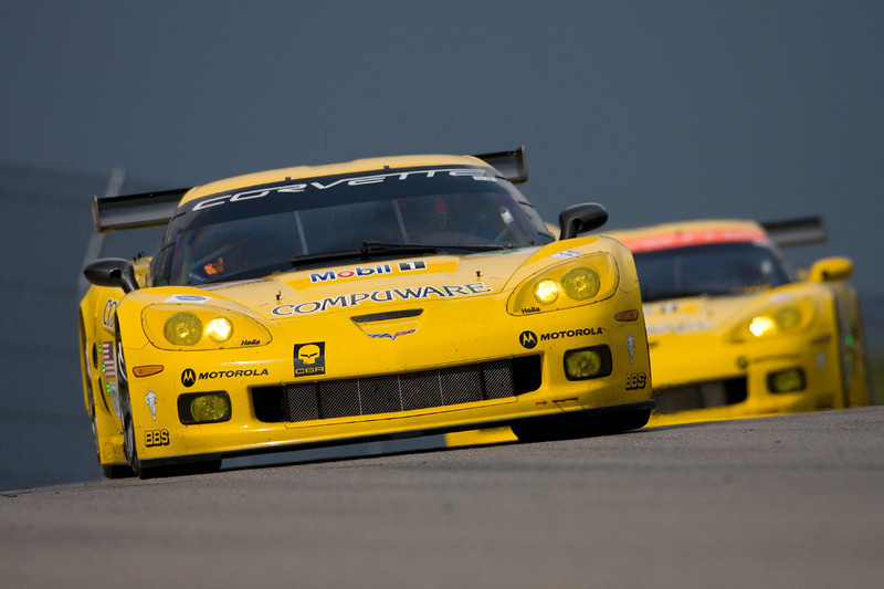 Corvette Racing, American Le Mans Series, Mobil 1 Presents Grand Prix of Mosport, Mosport International Speedway, August 26, 2007, C6.R #3 driven by Johnny O'Connell and Jan Magnussen, C6.R #4 driven by Oliver Gavin and Olivier Beretta, C6.R #33 driven by Ron Fellows and Andy Pilgrim (GM Racing Photo/Richard Prince)
