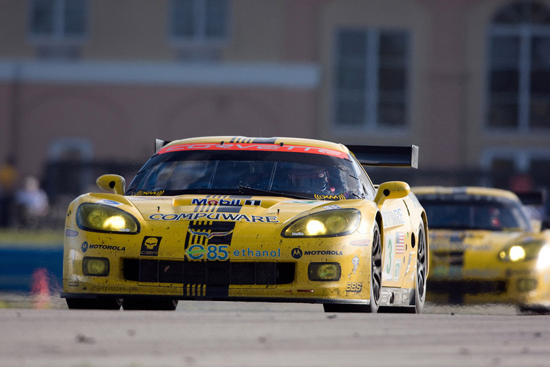 Corvette Racing, American Le Mans Series, Mobil 1 12 Hours of Sebring, March 15, 2008, C6.R #3 was driven to first in GT1 class by Johnny O'Connell, Jan Magnussen, and Ron Fellows, C6.R #4 was driven to second in GT1 class by Oliver Gavin, Olivier Beretta, and Max Papis (GM Racing/Richard Prince Photo).