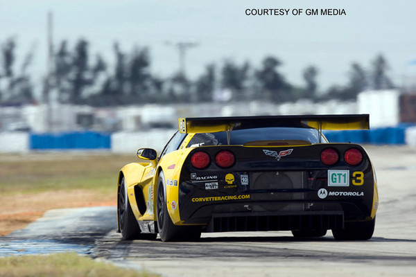 Corvette Racing, American Le Mans Series, Mobil 1 12 Hours of Sebring, Sebring International Raceway, Sebring, Florida USA, March 21, 2009, C6.R #3 driven by Johnny O'Connell, Jan Magnussen, and Antonio Garcia, C6.R #4 driven by Oliver Gavin, Olivier Beretta, and Marcel Fassler. (Richard Prince/GM Racing Photo). Media Use Only.