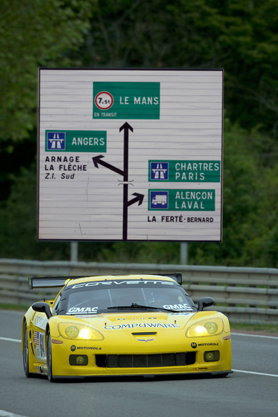Corvette Racing, 24 Hours of Le Mans Test Day, Le Mans France, June 5, 2005, C6.R #63 driven by Ron Fellows, Johnny O'Connell, and Max Papis, C6.R #64 driven by Oliver Gavin, Olivier Beretta, and Jan Magnussen. Photo credit Richard Prince/GM Racing. ©2005 Richard Prince.