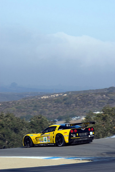 Corvette Racing, American Le Mans Series, Monterey Sports Car Championships Presented by Patron, Mazday Raceway Laguna Seca, October 18, 2008, C6.R #4 driven to first in GT1 by Oliver Gavin and Olivier Beretta, C6.R #3 driven to second in GT1 by 2008 ALMS GT1 driver champions Johnny O'Connell and Jan Magnussen (Richard Prince/GM Racing Photo).