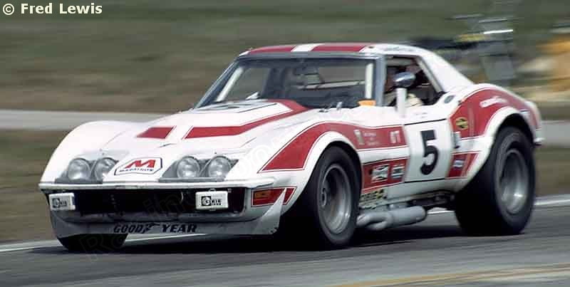 """# 5 - IMSA, Sebring, 1973 - Dave Heinz, Jerry Thompson in the ex # 4 LeMans car. This became the 2nd """"rebel"""" car when converted to widebody format at the end of 1973."""