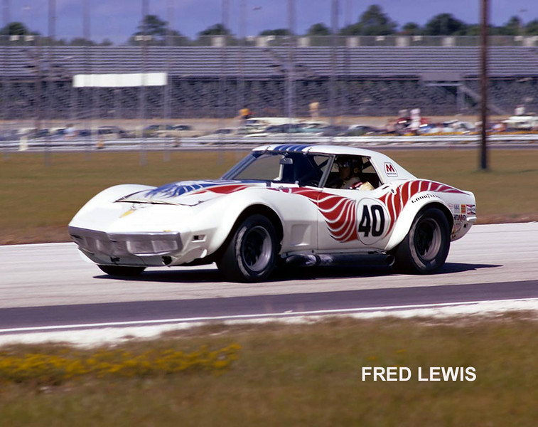 """# 40 - IMSA Finalé, Daytona, November 1973 - Lyndon and David Amick. This is the last of the """"narrow-bodied"""" cars. Rules changes permitted more tire and the car was converted to the Van Arnem-Abex-sponsored wide body. Car sold to Dave Fryer, who still owns it."""