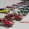 Greder Corvettes in 1/43 scale, chassis 410300 and 706401 various iterations 1968-1975 David Palmeter collection