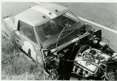 # 4 - Le Mans - 1968 - Sylvain Garant crashed out at Dunlop Bridge in 14th hour.