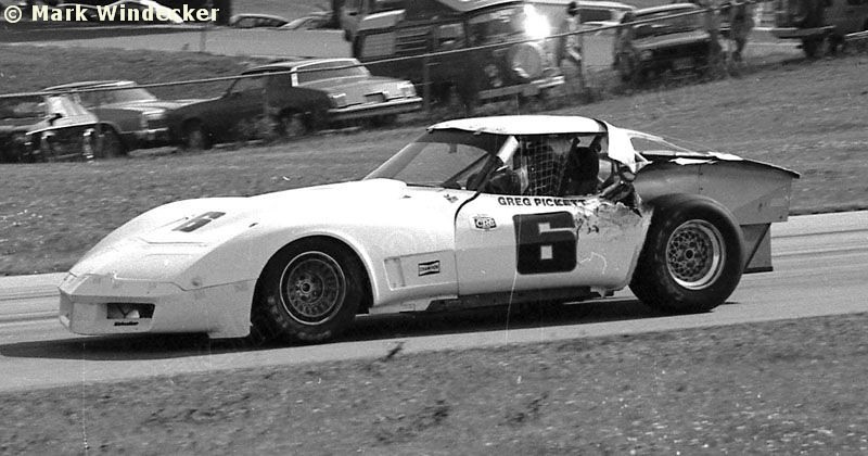 "# 6 - SCCA TA, Road America, 1980 - Greg Pickett in the first ""kevlar"" bodied narrow-body car. Body built by ACI using the first automotive applicaiton of kevlar panels with white gelcoat embedded, rather than paint."
