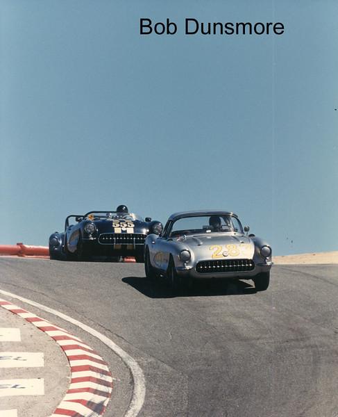 "# 283 - GRL, Laguna Seca, 1987 - Dick Guldstrand leads # 555 John ""Bat"" Masterson."