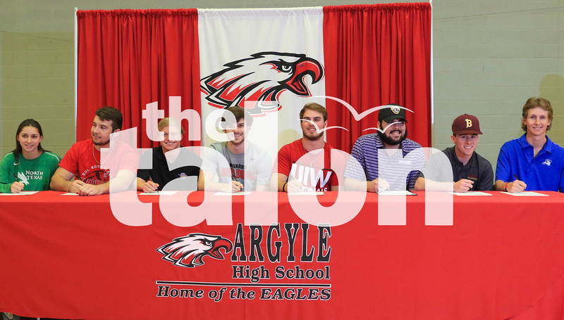 Students sign to compete in athletic events at their colleges. Signing Day at AHS in Argyle, Texas , on February 7, 2018. (Campbell wilmot / The Talon News)