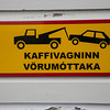 Towing Sign in Reykjavik, Iceland.