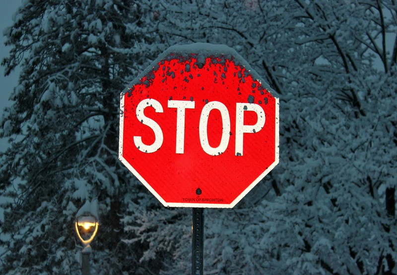 Stop Sign in Winter