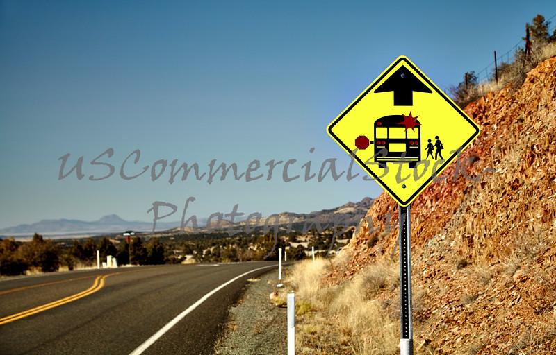 School Bus Stop Road Sign
