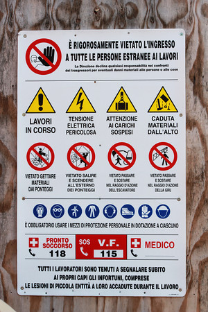 Italy, Venice, Construction Site Safety Sign