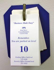 Tags at Parking Garage Elevator