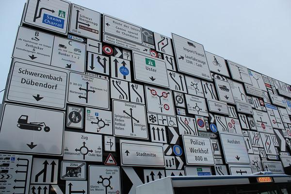 Switzerland, Lucerne, Transport Museum, Road Signs