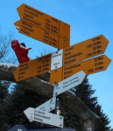Switzerland, Lucerne, Mt Pilatus, Hiking Direction Sign