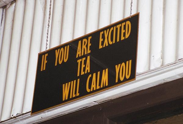 At the entrance to a tea factory in Nuwara Eliya, Sri Lanka