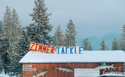 Zimmer Tackle Sign in Ronan, Montana, USA