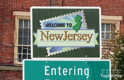 'Welcome To New Jersey' Sign in Frenchtown, New Jersey, USA