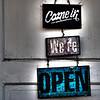 Open sign, The Monkey Basket, Helena, Alabama