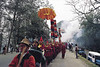 The lamas ( monks) leads the funeral procession of the Queen Mother out of the Gangtok Palace, March 1987