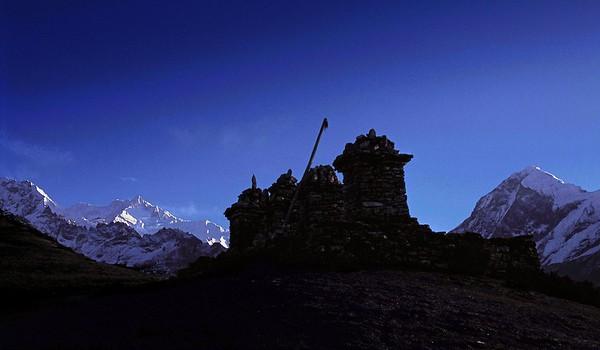 Kangchendzonga and Pandim as seen from the chortens of Dablakhang near Dzongri