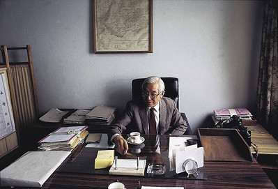 JIgdal Densapa at his office in Tashiling Gangtok 1992