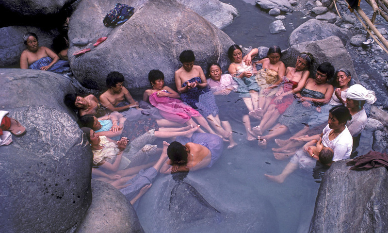 Bathers from Bhutan at Tatopani near Legship, South Sikkim