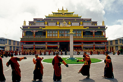 Ralang Monastery - lamas practice for the dances before Guru Padmasambhava's birthday June 2004.