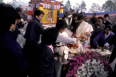 Queen Mother's funeral - March 1987 Tsulakhang monastery