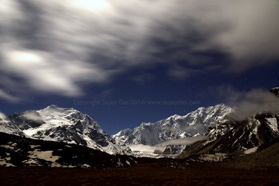 Moon in the clouds - Green Lakes. Simvu on the left , the Zemu Gap and Kangchenzonga