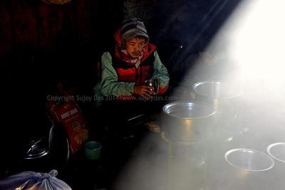 Phurba in the cook tent at Yabuk