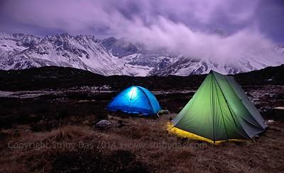 Night Green Lakes Base Camp