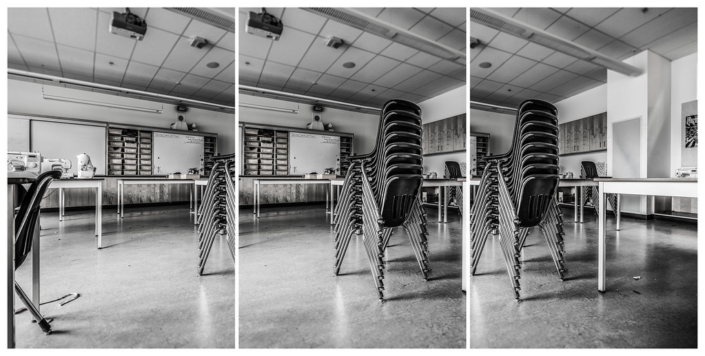 Chair Stack - Triptych, 2015. ©Luke Potter