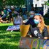 KRISTOPHER RADDER — BRATTLEBORO REFORMER<br /> Nicole Potter and several others listen to Question Ricardo speak during a Black Lives Matter silent protest at the Brattleboro Common, in Brattleboro, Vt., on Friday, June 12, 2020.
