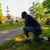 KRISTOPHER RADDER — BRATTLEBORO REFORMER<br /> Lavaus Williams, of Brattleboro, Vt., joins with several hundred people to kneel for 8 minutes and 46 seconds in honor of George Floyd, who was killed by Minneapolis Police on May 25, 2020, during a Black Lives Matter silent protest at the Brattleboro Common, in Brattleboro, Vt., on Friday, June 12, 2020.