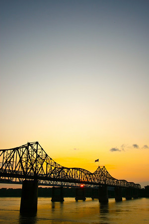 Mississippi River Bridges at Vicksburg A beautiful delta sunrise or sunset!